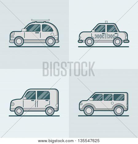 Passenger car van transport Linear stroke outline flat vector