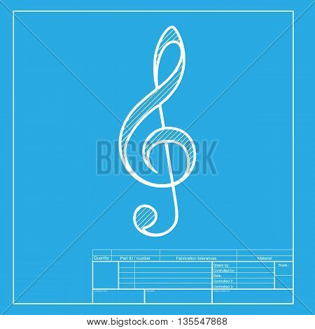 Music violin clef sign. G-clef. Treble clef. White section of icon on blueprint template.