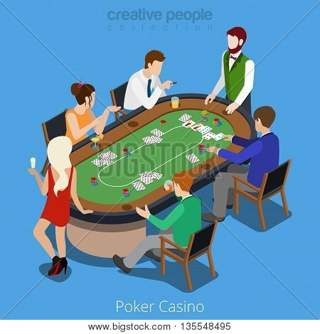 Isometric poker room vector concept. Player online casino card.