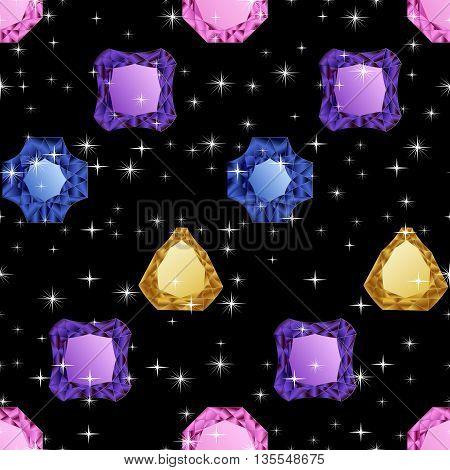 Diamonds seamless pattern. Vector illustration jewerly. Abstract diamond vector background. Jem seamless pattern. Seamless background, brilliant jewels