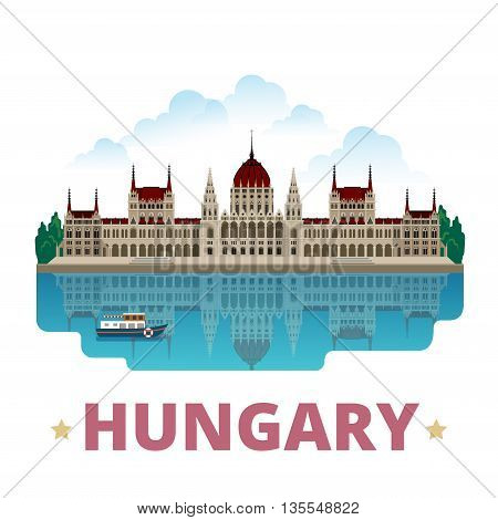 Hungary country design template Flat cartoon style web vector