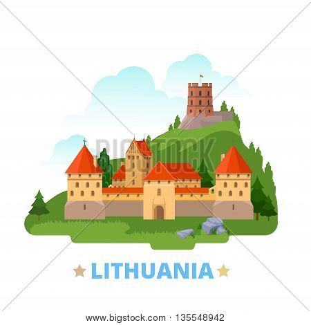 Lithuania country design template Flat cartoon style web vector