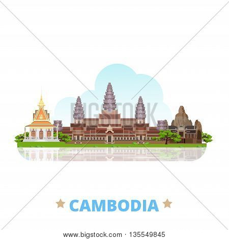 Cambodia country design template Flat cartoon style web vector