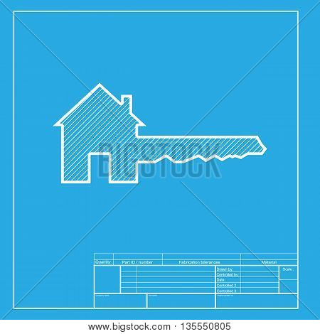 Home Key sign. White section of icon on blueprint template.