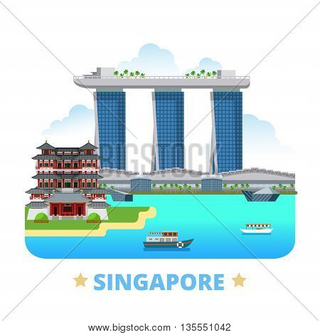 Singapore country design template Flat cartoon style web vector