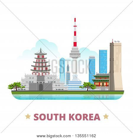 South Korea country design template Flat cartoon style vector