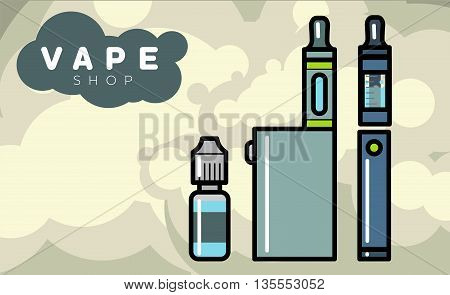 Electronic cigarettes vape vapor vaporizers Vector illustration