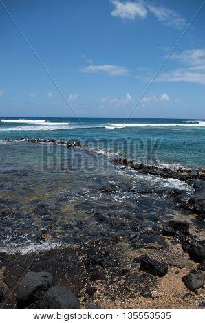 Lava Beach scene at Lawai, Kauai, Hawai