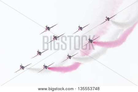 Leeuwarden, The Netherlands - June 10, 2016: Raf Red Arrows Performing At The Dutch Air Force Open H