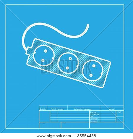 Electric extension plug sign. White section of icon on blueprint template.