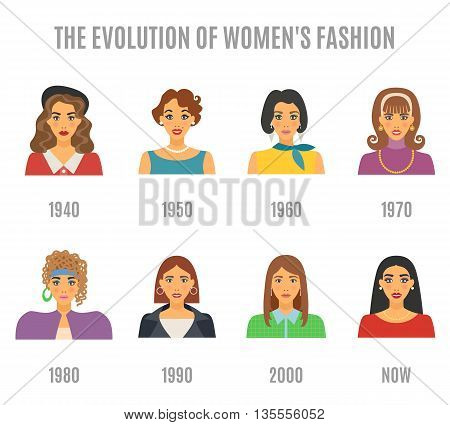 Women Fashion Icons Set. Fashion Evolution Avatar Vector Illustration. Fashion Evolution Decorative Set.  Fashion Evolution Design Set. Fashion Evolution Flat Isolated Set.