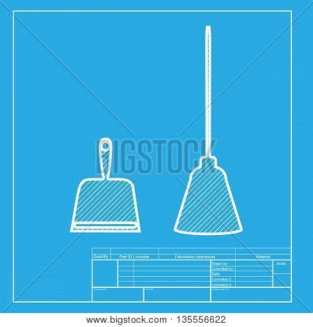 Dustpan vector sign. Scoop for cleaning garbage housework dustpan equipment. White section of icon on blueprint template.