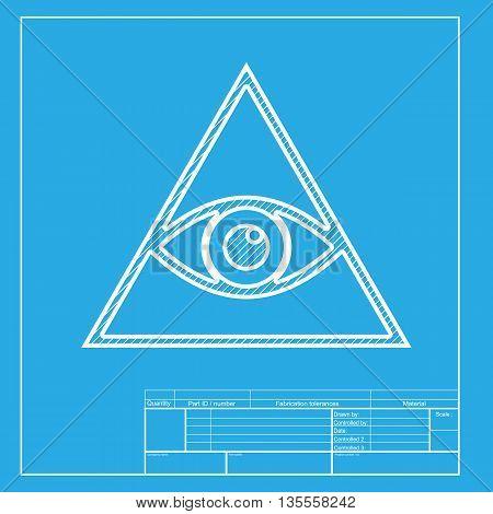 All seeing eye pyramid symbol. Freemason and spiritual. White section of icon on blueprint template.