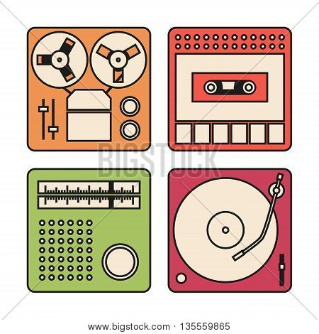 Set of icons with outlines for tape recorder gramophone radio and cassette recorder