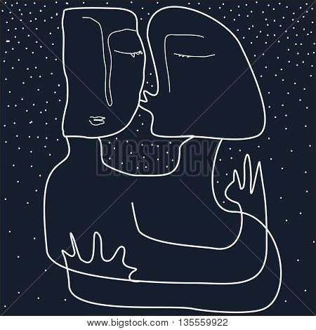 Two person on dark background. Star. Kiss.