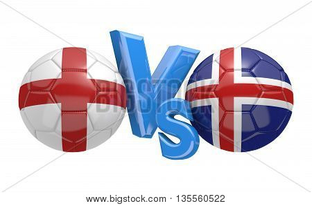 Football competition between national teams England and Iceland, 3D rendering