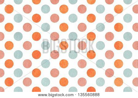 Watercolor Pink, Blue And Orange Polka Dot Background.
