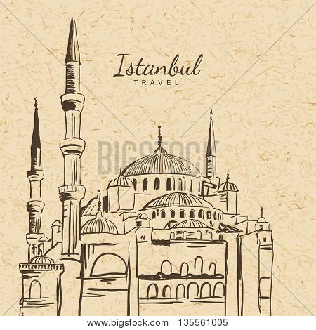 Vector Illustration Of Blue Mosque On Vintage Paper Background. Sultanahmet Camii Hand Drawn Sketch.