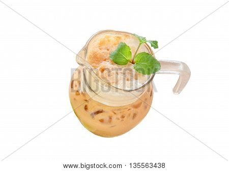 Milk Iced tea Thailand Sweet and sour on white background