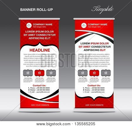 Red Roll up banner stand template vintage banner vector illustration