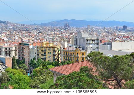 Barcelona Spain. View of the city from the park on the hill of Montjuic