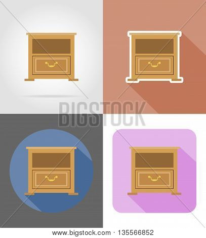 nightstand furniture set flat icons vector illustration isolated on white background
