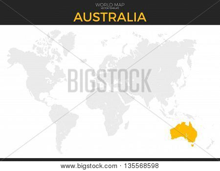 Commonwealth of Australia location modern detailed vector map. All world countries without names. Vector template of beautiful flat grayscale map design with selected country and border location