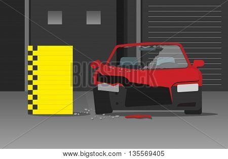 Crashed car vecot illustration on dark garage or night street, concept of crash test