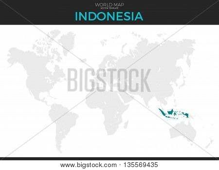 Republic of Indonesia location modern detailed vector map. All world countries without names. Vector template of beautiful flat grayscale map design with selected country and border location