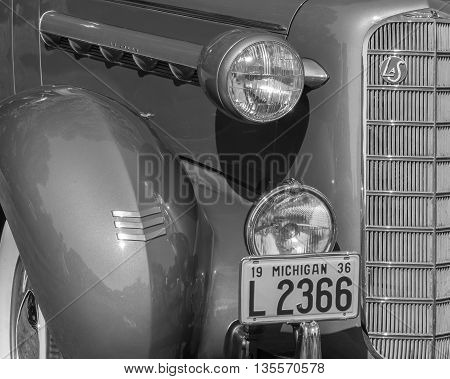 GROSSE POINTE SHORES MI/USA - JUNE 19 2016: A 1936 LaSalle car at the EyesOn Design car show, held at the Edsel and Eleanor Ford House, near Detroit, Michigan.