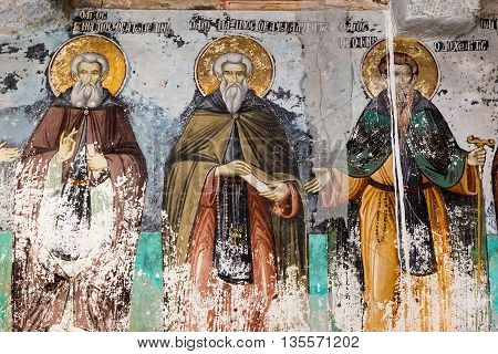 Timeworn Frescoes Of Saints