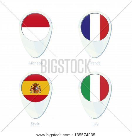 Monaco, France, Spain, Italy Flag Location Map Pin Icon.