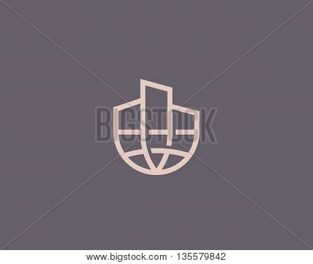Abstract house globe logo design template. Line real estate planet sign. Universal global realty vector icon.