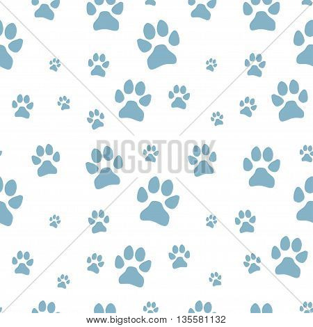 blue dog footstep seamless pattern on white background