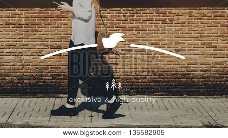 Female Streetwalk Outdoors Banner Graphic Concept