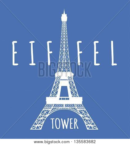 Eiffel tower in Paris. Vector illustration on blue