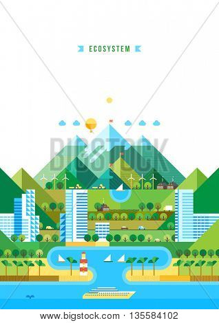 Summer leisure trip and tourism backgrounds. Infographic - modern city, industry, ecosystem and travel. Flat design