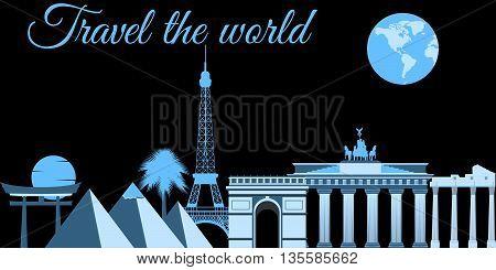 Travel The World, World Landmarks, Travel And Tourism Background. Around The World.