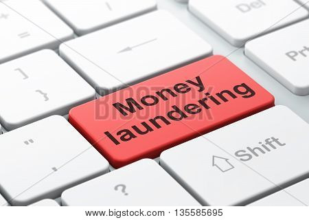 Money concept: computer keyboard with word Money Laundering, selected focus on enter button background, 3D rendering