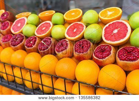Beautiful street shopfront of fresh and juicy fruits.