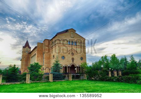 Architecture view - Cathedral of Christ Christian Evangelical Church architecture landmark in Veliky Novgorod Russia. View of temple architecture architecture landscape in cloudy weather