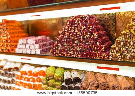 Beautiful sets of turkish delight and other sweets.