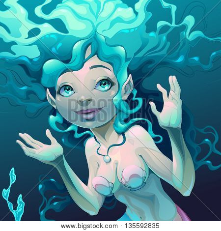 Portrait of a mermaid in the sea. Vector cartoon illustration