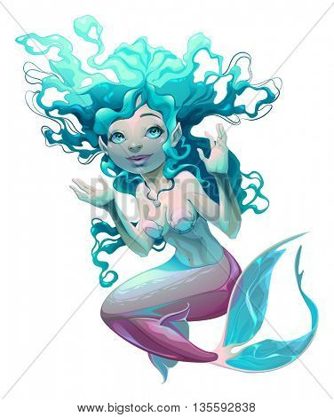 Young mermaid with white background. Vector cartoon isolated character.