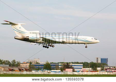 VNUKOVO, MOSCOW REGION, RUSSIA - 17 June , 2016: Airplanes at Vnukovo international airport. Gazpromavia Airlines Tupolev TU-154 landing to runway