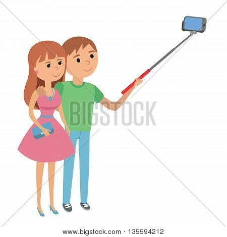 Selfie couple man and woman vector illustration. Selfie couple hugs isolated on white background. Selfie couple vector icon illustration. Selfie couple isolated vector.