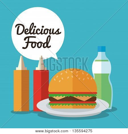 Delicius Food represented by hamburger with sauce  icon over pastel and flat background