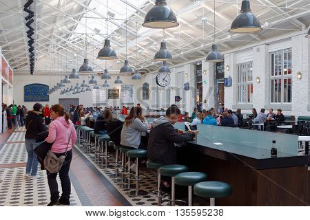 SWINDON, ENGLAND, 5 MARCH 2016.  Editorial Photograph of Food Hall at Designer Outlet Shopping Centre.  Close to the Town Centre, the Designer Outlet Centre occupies the Restored Great Western Railway Works