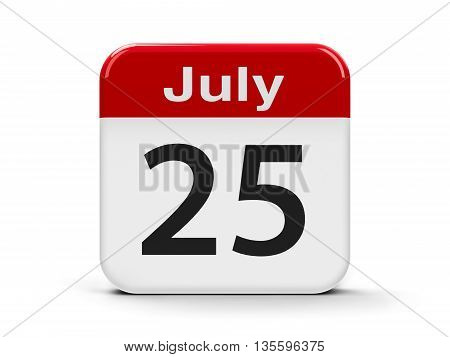 Calendar web button - The Twenty Fifth of July three-dimensional rendering 3D illustration