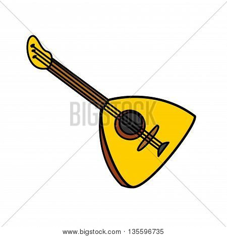 Balalaika Vector Cartoon Illustration. Folk musical Instrument Balalaika Isolated on a White Background